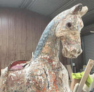 'Old Spotty' Rocking Horse before restoration.