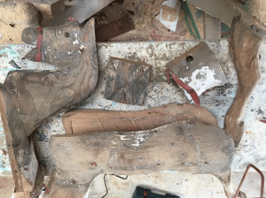 'Old Dobbin' Roebuck Rocking Horse in pieces before restoration.