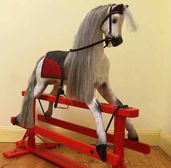 'Rocky' Roebuck Rocking Horse after restoration.