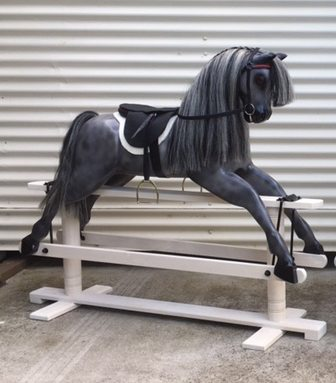 Dark Dapple Grey Rocking Horse by Olivia O'Connor