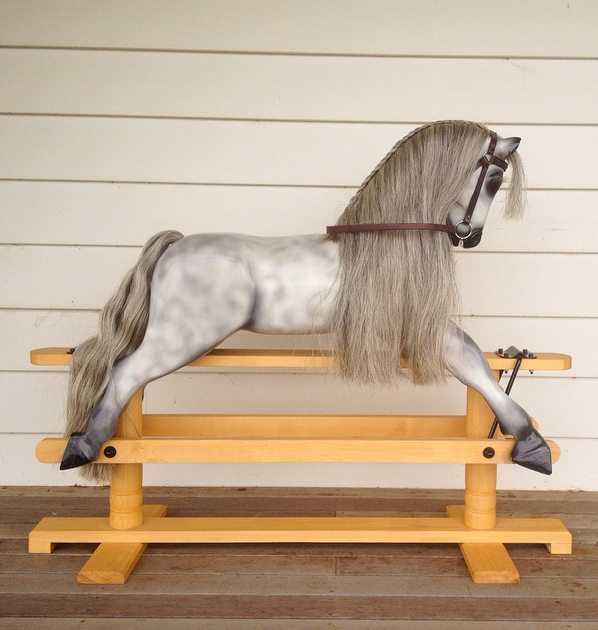 Medium Dapple Grey Rocking Horse by Olivia O'Connor.