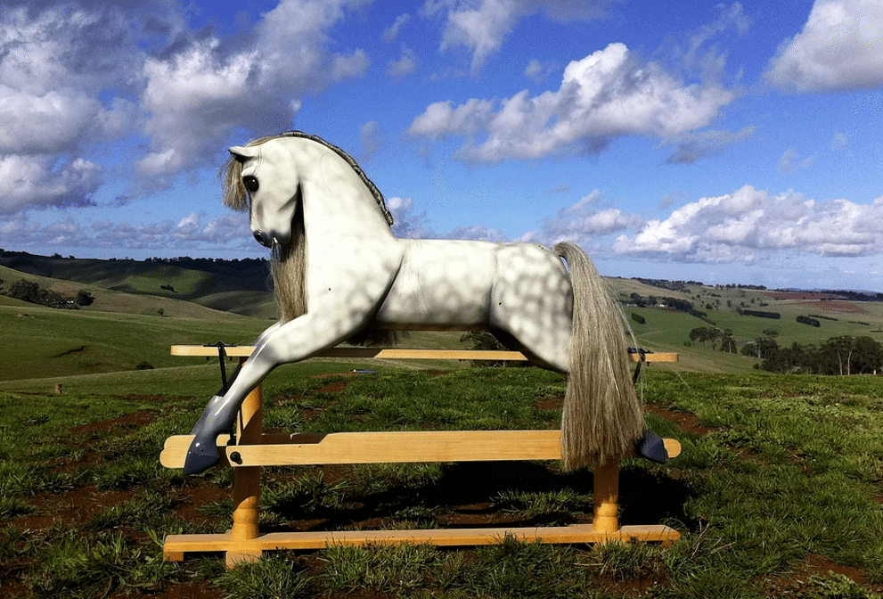 Light Dapple Grey Rocking Horse by Olivia O'Connor.
